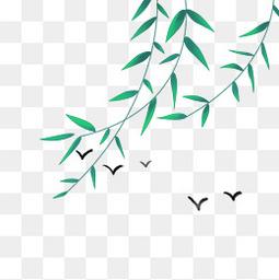 清明节水墨风风中的柳叶