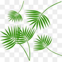 端午节漂浮卡通绿色叶子元素