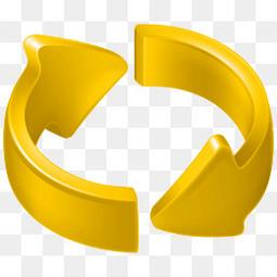 立体黄色360度循环箭头