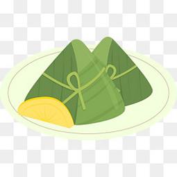 端午节盘子里装粽子卡通手绘元素