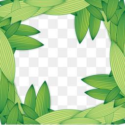 端午节绿色卡通粽子叶元素