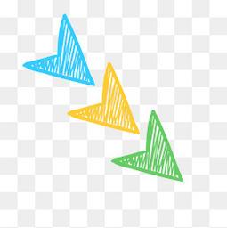 矢量彩色手绘三角箭头