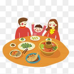 端午节一家人吃饭吃粽子手绘卡通元素