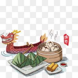 端午节卡通手绘龙舟粽子元素