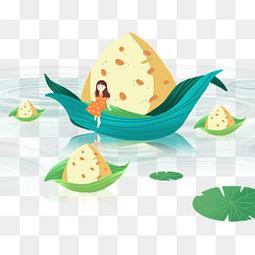 端午节卡通手绘粽子船人物漂浮元素