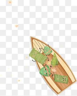 端午节可爱卡通小船粽子节日元素