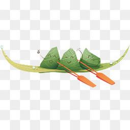 端午节卡通手绘可爱粽子小船元素