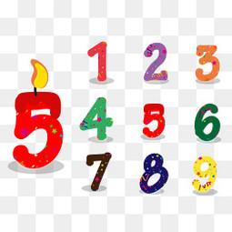 彩色生日庆祝数字设计