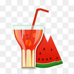 夏天小清新西瓜饮料元素
