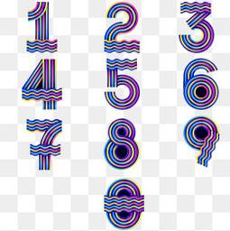 创意彩色的条纹数字设计