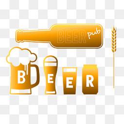 时尚啤酒图标标签设计矢量素材