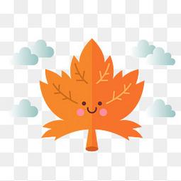 可爱枫叶秋季的落叶和云朵设计