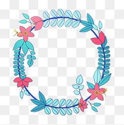 卡通蓝色植物边框