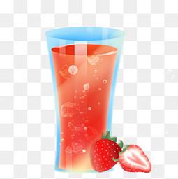 夏日手绘冰凉草莓饮料