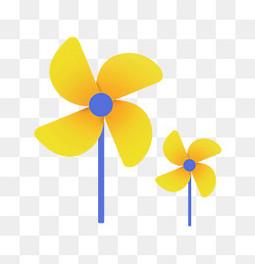 可爱卡通黄色小风车