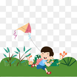 草地放风筝的男孩