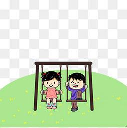 儿童节荡秋千的儿童插画