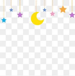 彩色五角星月亮装饰图案