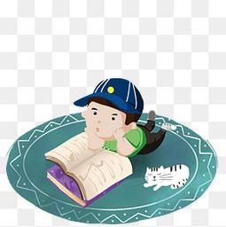 手绘坐在地毯上认真学习