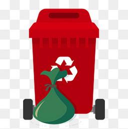 红色垃圾桶垃圾卡通元素