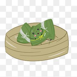 可爱卡通粽子粽叶透明图手绘