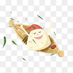 可爱卡通粽子竹叶小船手绘