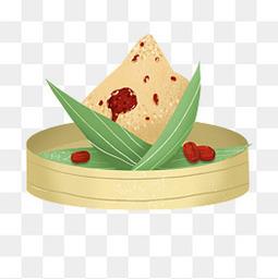 可爱卡通剥开的粽子粽叶手绘