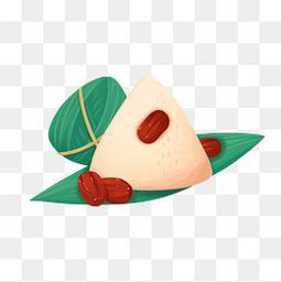 卡通红枣粽子粽叶手绘透明图