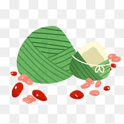 可爱卡通粽子红枣手绘透明图