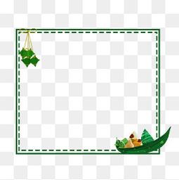 粽子绿色边框免扣元素