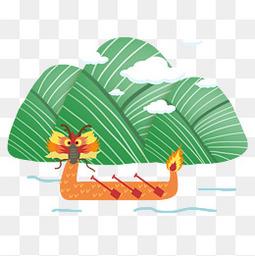 龙舟粽子手绘节日元素透明图·