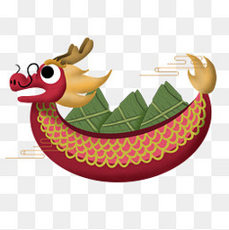 龙舟粽子手绘透明元素