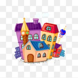 可爱卡通房子元素