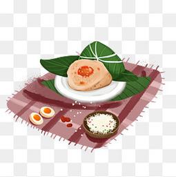 卡通手绘包粽子透明图