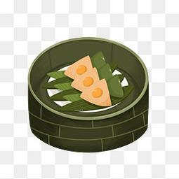 蒸笼粽子手绘元素
