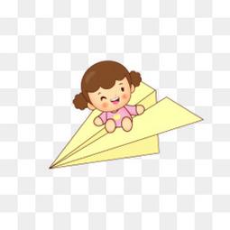 纸飞机上的孩子