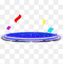 蓝色时尚科技霓虹灯光舞台产品展台
