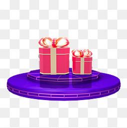 紫色舞台礼盒元素免扣元素