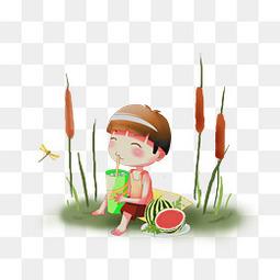 夏天小男孩吃西瓜免扣图