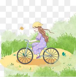夏天骑单车小女孩免扣元素