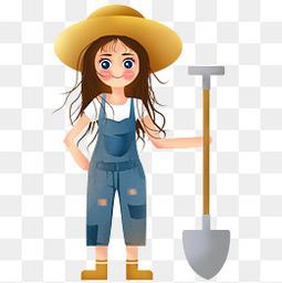 手绘五一劳动节拿着铁锹劳动的女孩子