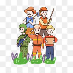 劳动节致敬劳动者卡通人物