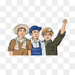 五一劳动节工人人物PNG素材