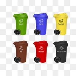创意垃圾桶干湿垃圾可回收不可回收垃圾素材大全