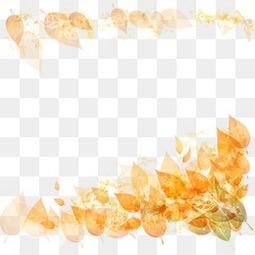 卡通手绘秋天树叶落叶