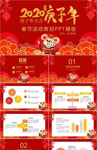 喜庆中国风庚子年大吉春节活动策划PPT模板