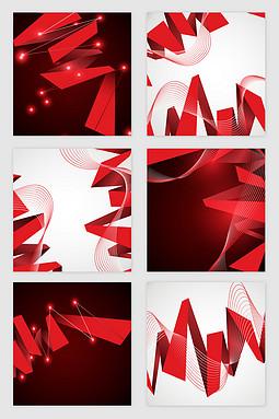 喜庆红色彩带点光矢量素材