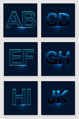 科技水晶字体样式矢量素材
