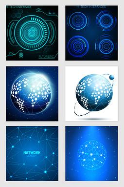 蓝色科技光效线条矢量素材