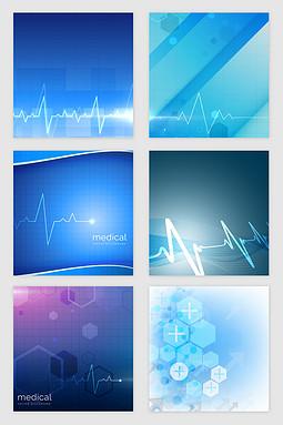 蓝色医疗科技光效纹理矢量素材